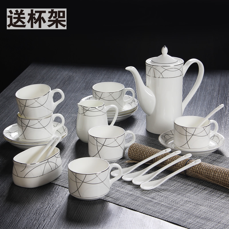 15 head bone china mugs suit continental coffee gift sets ceramic coffee cup with tea to send the shelf