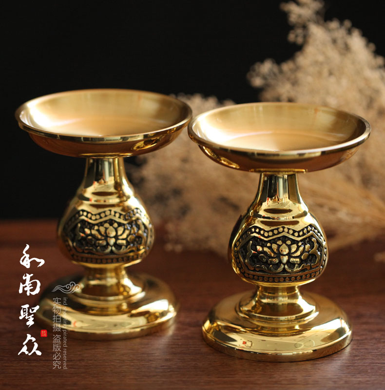 Buddhist supplies for light oil lamps copper auspicious golden lotus ghee lamp holder candlestick candle holders/pair
