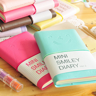 There korea stationery love smile mini smiley leather notepad diary small book 110g