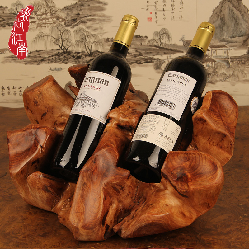 Wine rack wine rack creative fashion gift wooden red wood wine rack wine storage rack display ornaments