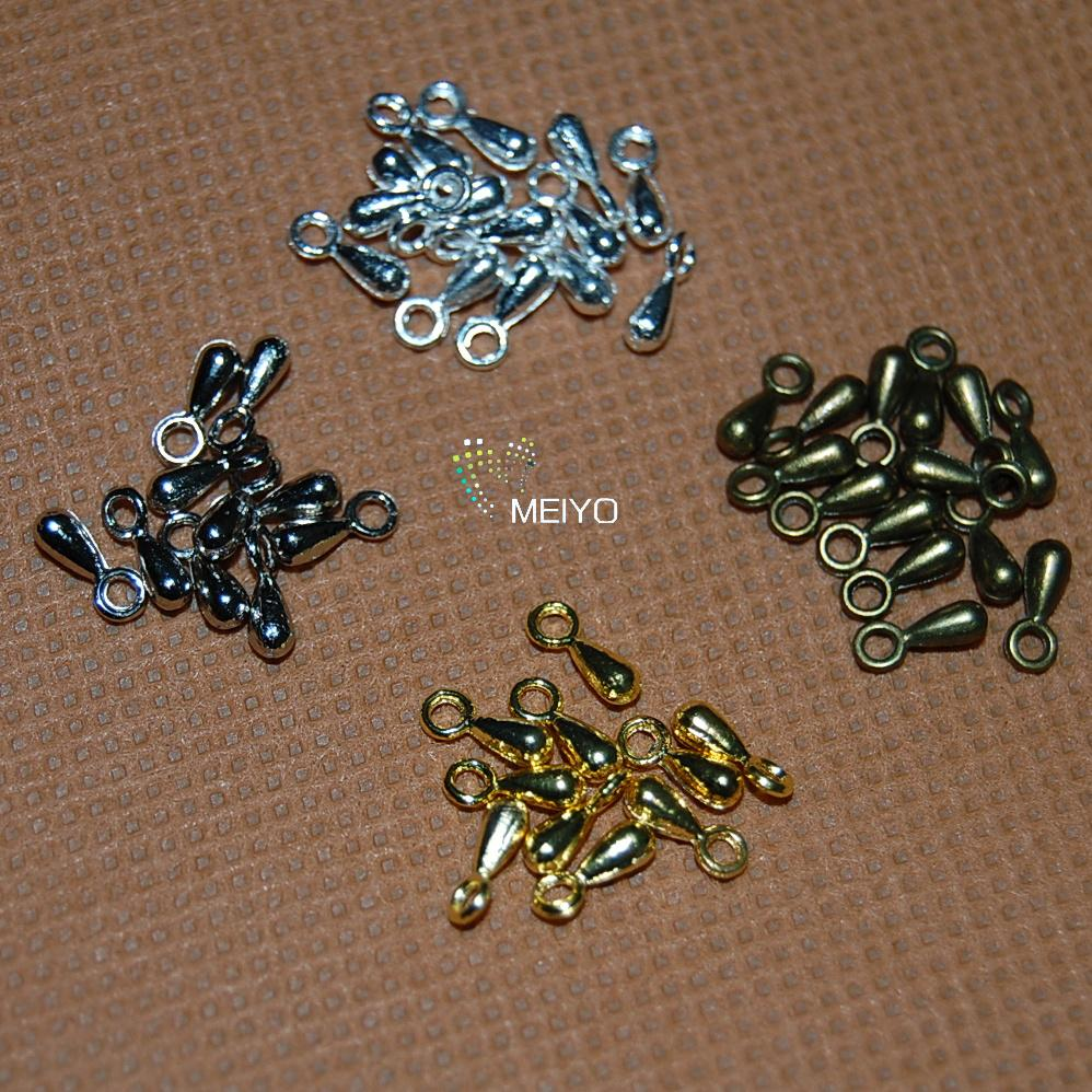 Us foreign diy handmade jewelry materials 7*3mm nickel alloy plated silver droplets ancient blue 5g