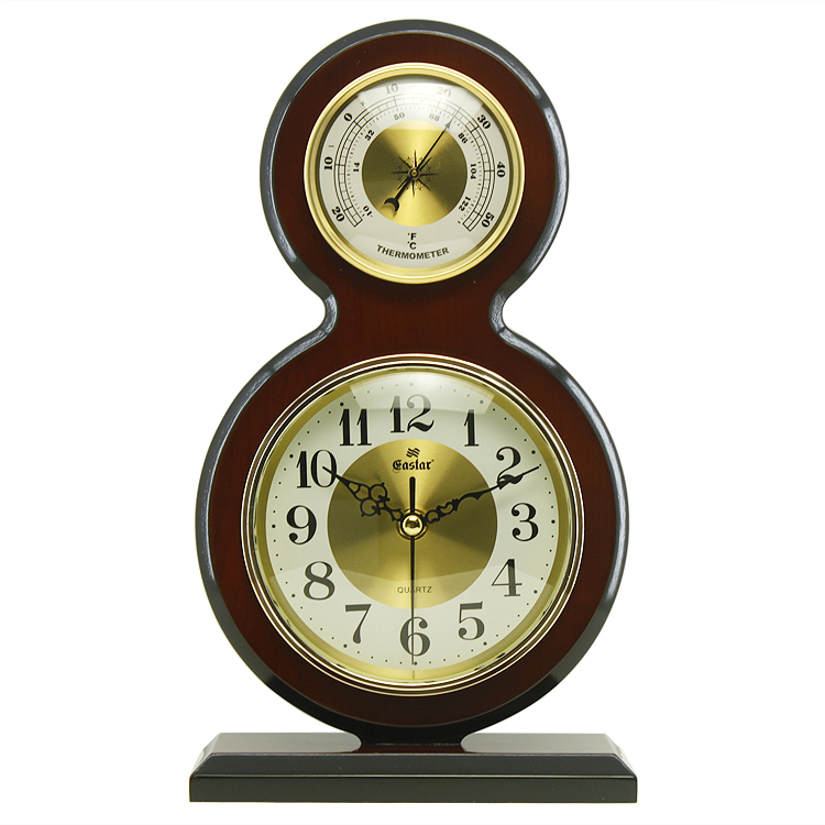 Get Ations Eastern Star Continental Wooden Desk Clock Quartz Thermometer Small Table Office