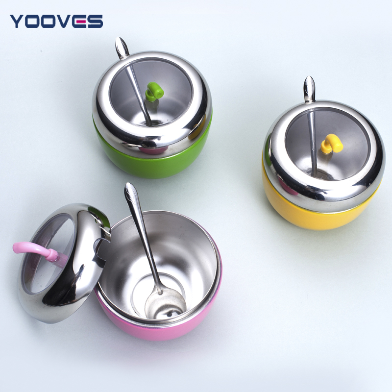 Yawei si small pieces of kitchen supplies stainless steel spice jar seasoning box condiment box seasoning cans suit