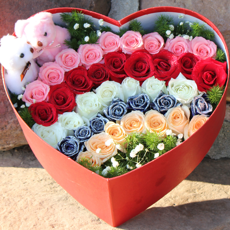 Rose heart gift 33 roses flower delivery beijing shanghai flowers changsha city flower shop in the city of chengdu