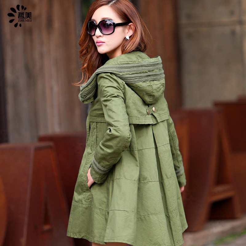 Get Quotations · Autumn new korean version of cloak coat female army green  hooded long section of loose cotton 0834ef790