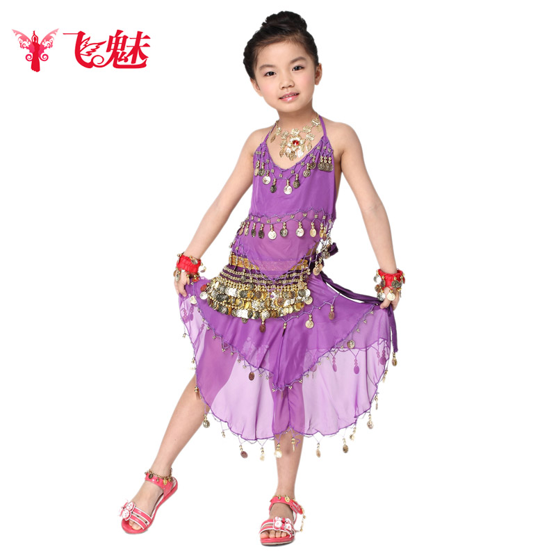Children fly charm belly dance costume tianzhu girl clothes and children's dance indian dance costumes dance skirt suit