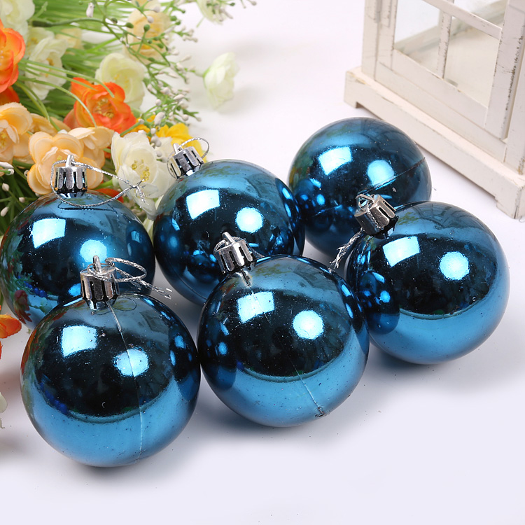 Qixuan christmas ball christmas decoration christmas supplies christmas tree ornaments 6CM christmas light blue ball