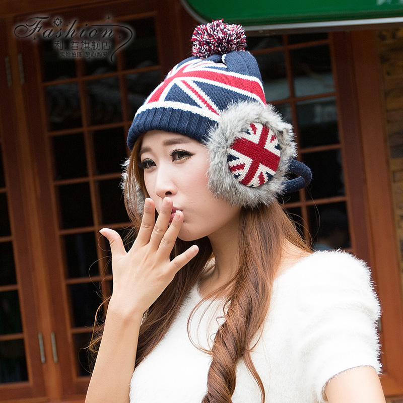 Autumn and winter hat female korean winter wool hat female korean winter hat knitted hat ear cap sleeve cap lipp