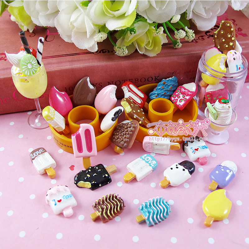 Chocolate ice cream ice cream popsicle siwan simulation cream resin diy mobile beauty accessories