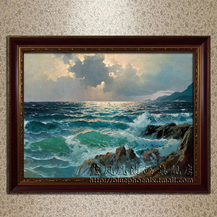 Blue phoenix upscale villa living room pure hand painted oil painting home decorative painting framed sub force alexander seascape paintings 2