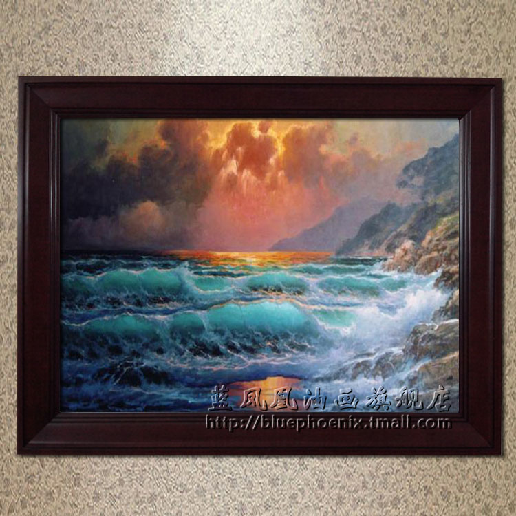 Blue phoenix upscale villa living room pure hand painted oil painting home decorative painting framed sub force alexander seascape paintings 17