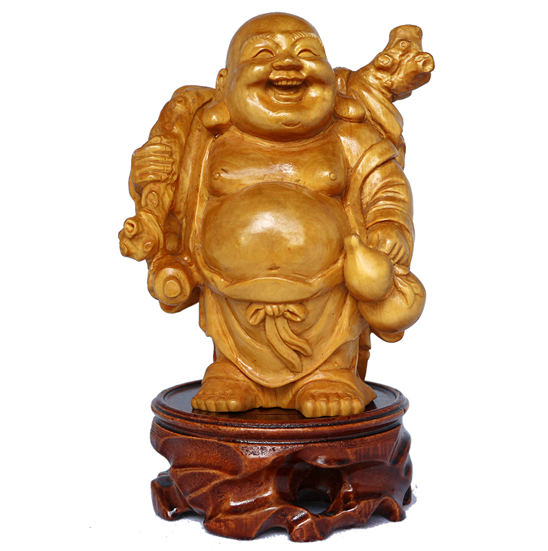 Festival creative ornaments maitreya buddha/buddha lucky buddha laughing buddha ornaments carved boxwood hundred years