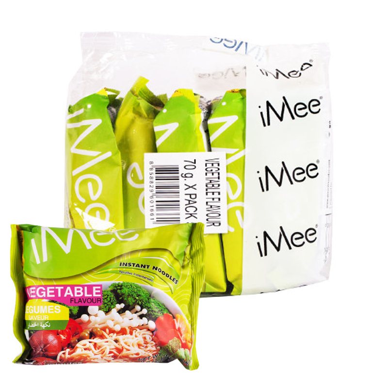 [Lynx supermarket] amy vegetable flavor instant noodles instant noodles imported from thailand 5 even pack 70g * 5 bags