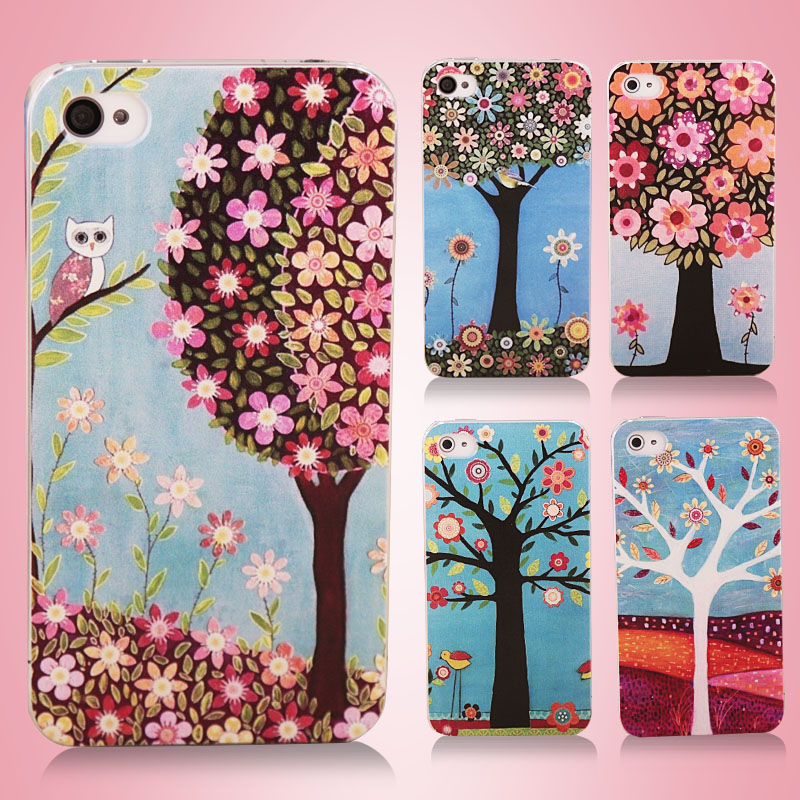 Painted christmas tree iphong4 phone sets female ipones4s 4s mobile phone sets ip4 phone shell mobile phone sets personality han