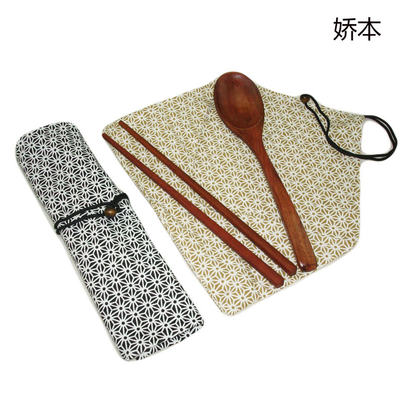 Free shipping jiao this korean travel portable tableware and wind natural wood chopsticks spoon suit buy 2 sets to send a set