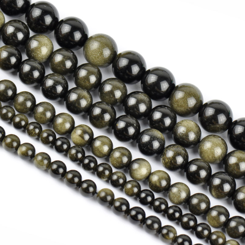 Myatou/girl hair jewelry beads diy semifinished natural gold obsidian obsidian beads loose beads beaded