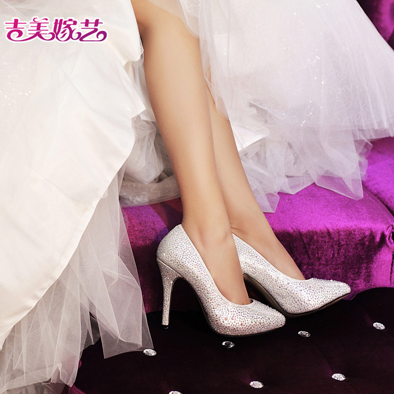 Jigme married arts 5181 new wedding shoes bridal shoes white pink high heels korean version of the new female wedding shoes