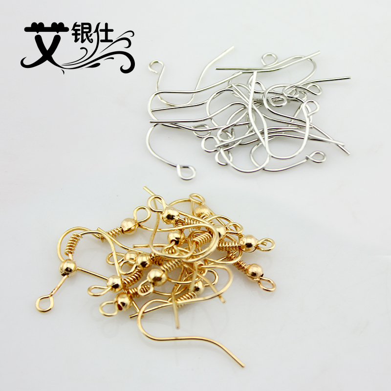 Ai yinshi diy beaded jewelry accessories direct gold silver ear hook ear hook earrings handmade accessories material