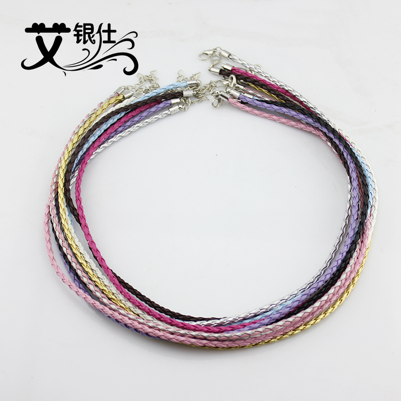 Ai yinshi jewelry accessories woven imitation leather cord color imitation leather rope pendant necklace lanyard rope necklace men and women