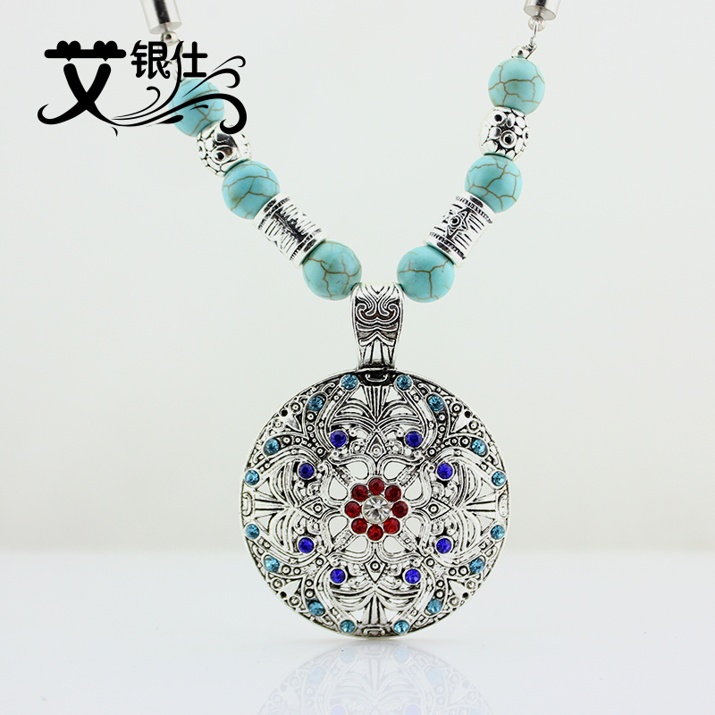 Ai yinshi diy accessories scattered beads tibetan silver jewelry materials direct fashion hollow circular sweater chain