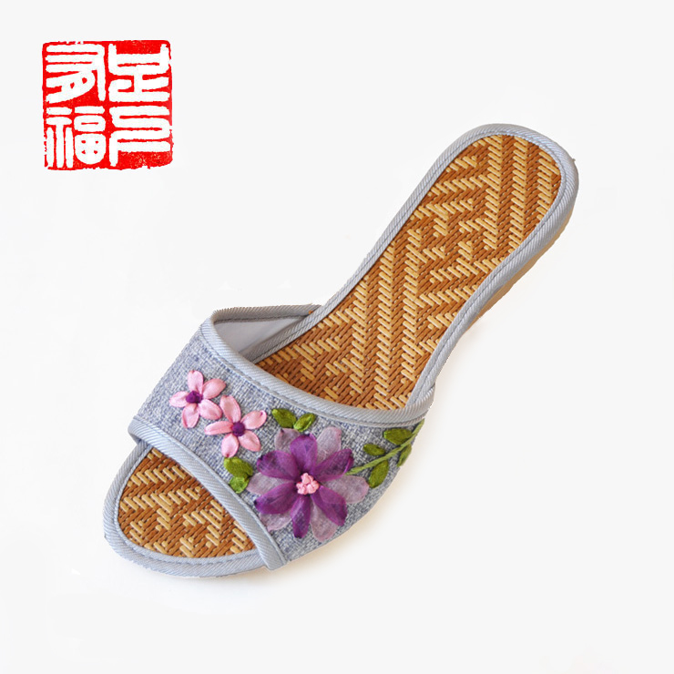 Blessed with a single step ã] small garden embroidered shoes tendon at the end shoes women home linen rattan bottom sandals and slippers 113