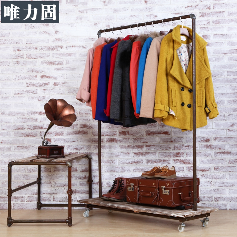 Only power solid hanger floor display rack clothing store clothing racks clothing display racks in the island to do the old retro shelf