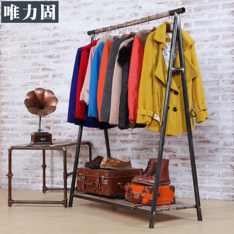 Only solid force to do the old retro clothing display rack wrought iron clothing rack clothing store shelf to do the old industrial pipes