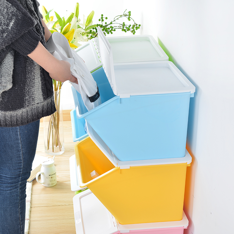 2 dew colorful stackable plastic storage box with a lid fitted clothes matter of food storage box finishing box set