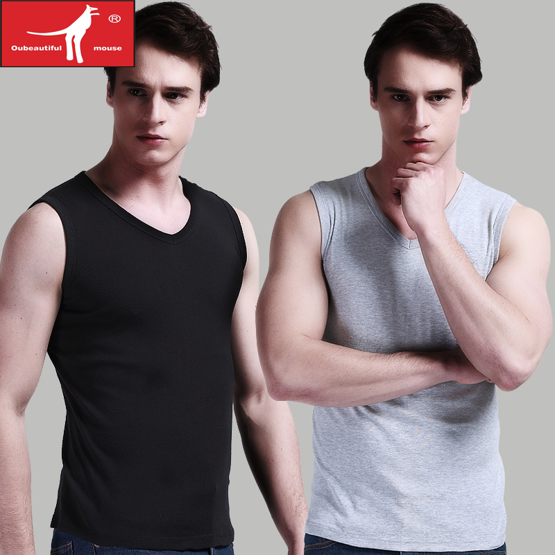[2] fitted sports broad shoulders tight vest men's cotton round neck sleeveless v-neck t-shirt bottoming spring and summer