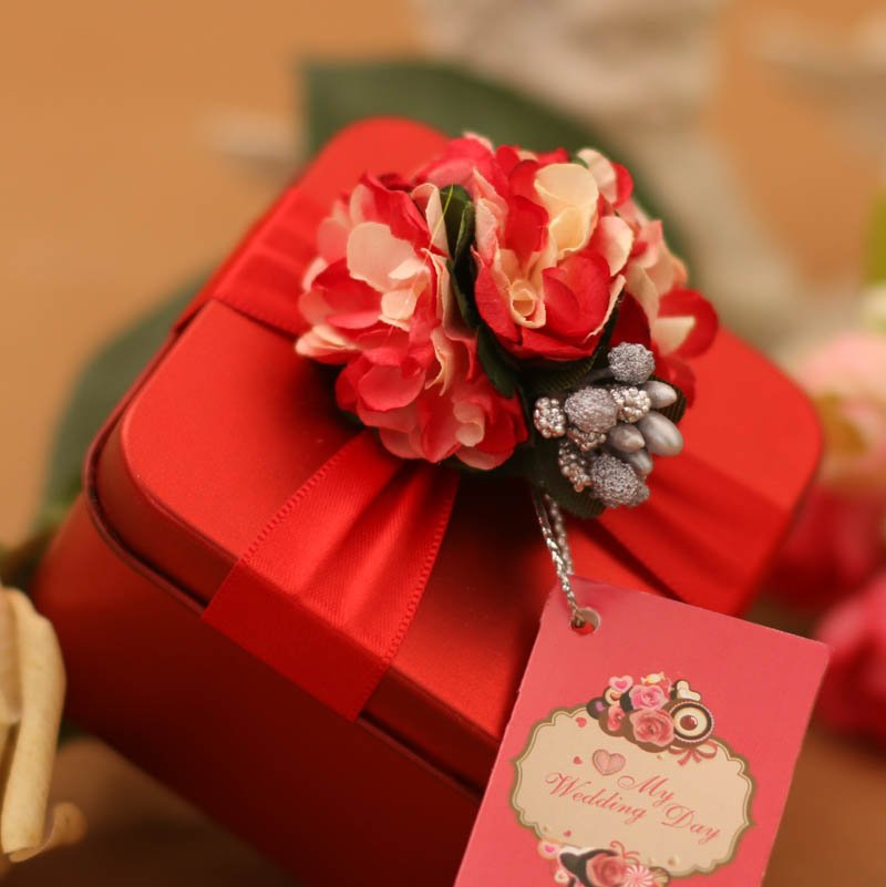 2015 korean version of a happy heart wedding candy box tin square tin candy box wedding wedding