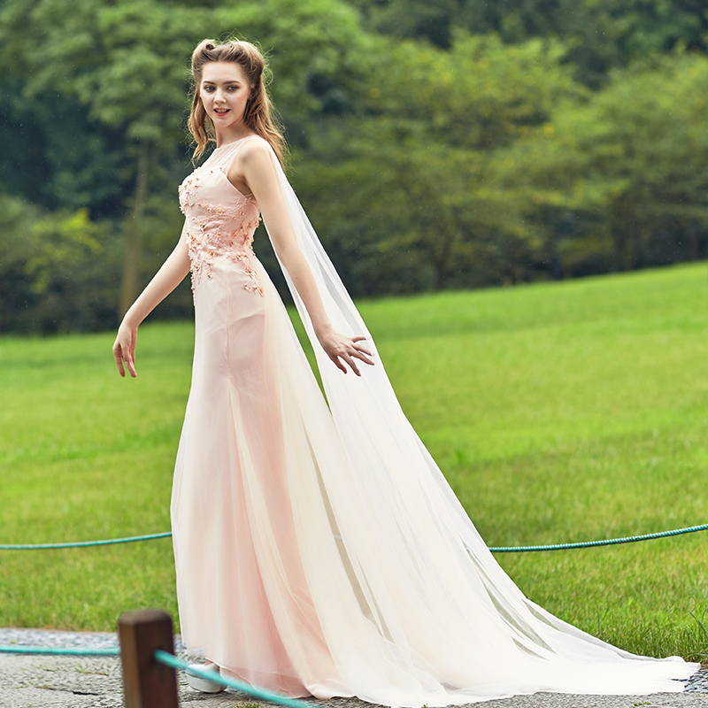 2015 new evening dress long paragraph the word shoulder bride toast clothing autumn and winter was thin trailing wedding dress slim