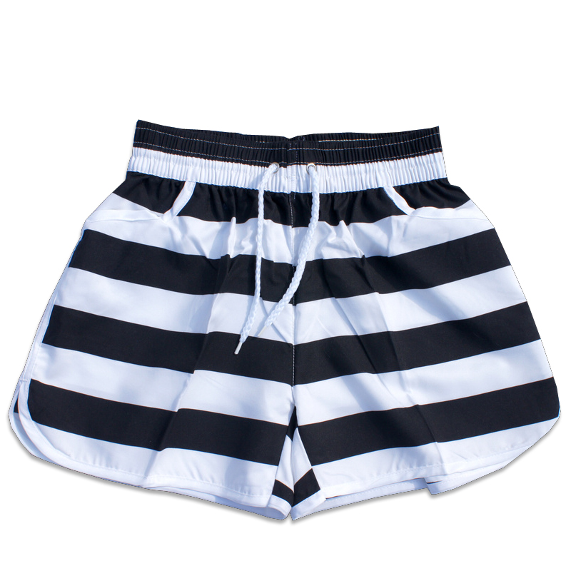 2015 new korean version of black and white lovers pants/summer black and white striped beach pants for men and women selling models