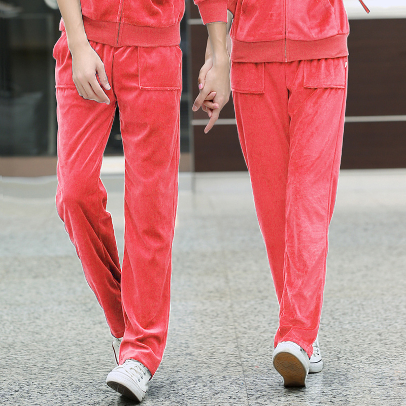2015 spring and autumn velvet sports pants casual pants loose pants waist pants ms. male lovers pants casual pants elastic
