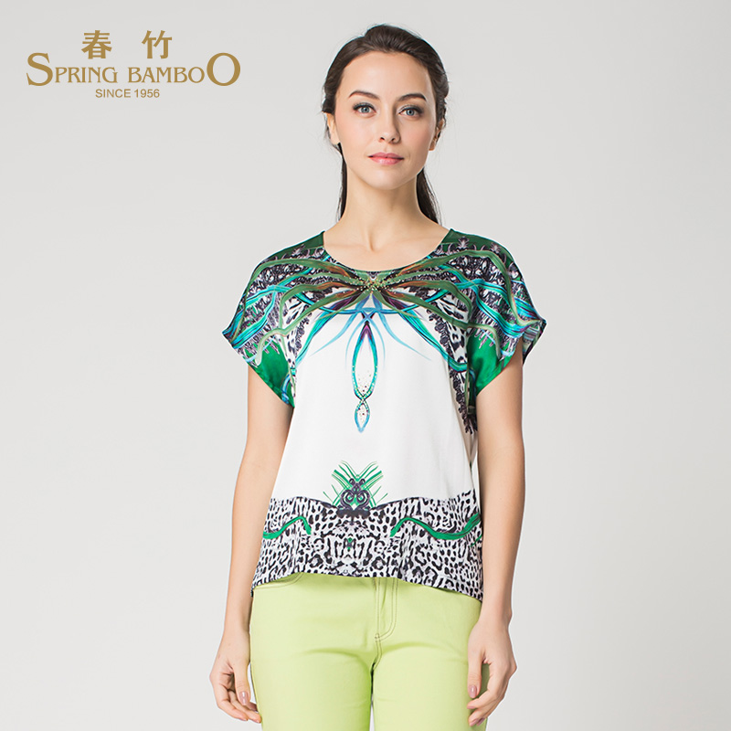 2015 spring and summer t-shirt girls long section round neck shirt spring bamboo counter genuine ladies