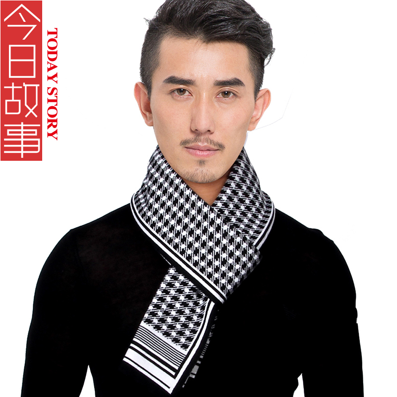 2015 winter new men's scarves wool scarf warm scarf male korean version of the upscale houndstooth thick knit scarf