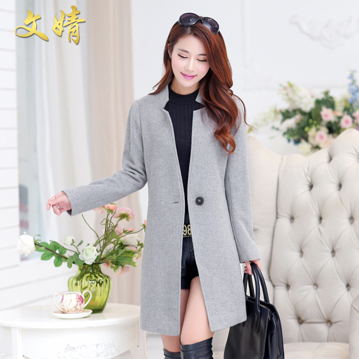 b61c4860914a Get Quotations · 2015 winter new models woolen coat woolen coat girls long  paragraph slim was thin long sleeve