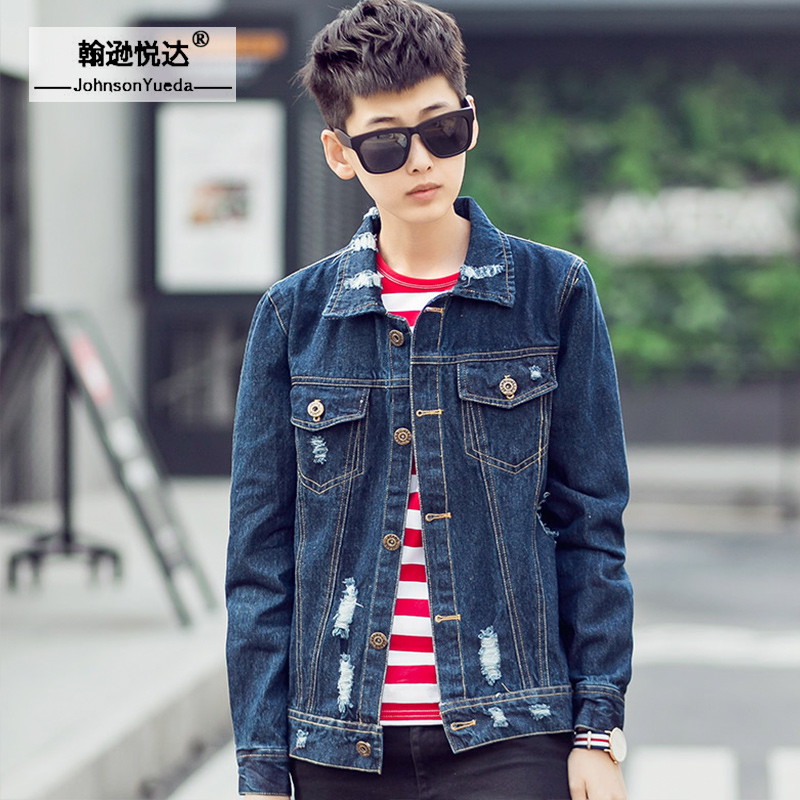 2016 autumn and winter denim jacket male retro japanese teenagers hole slim denim jacket denim jacket men clothes tide students