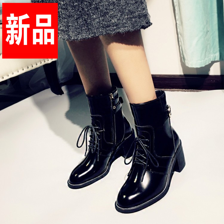2016 autumn and winter influx of european leg of martin boots women short boots high heels boots thick with round leather casual leather boots single boots