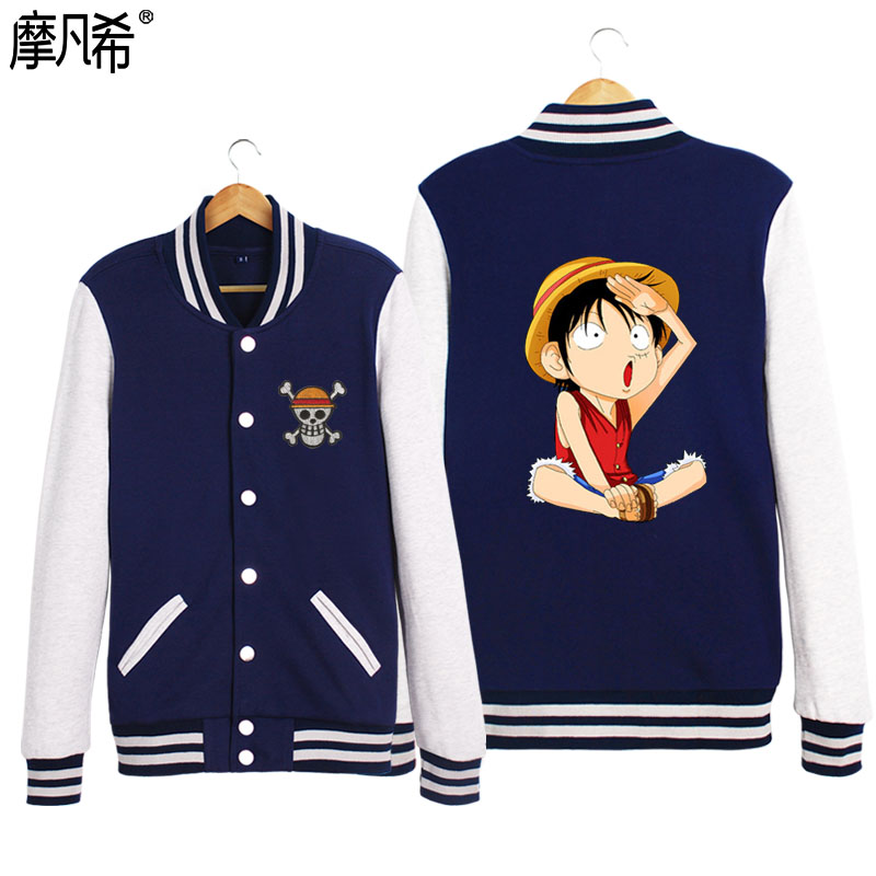 2016 autumn and winter male korean baseball uniform piece luffy couple student short coat female cardigan sweater printing