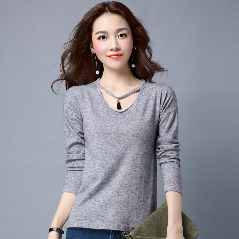 Get Quotations · 2016 autumn and winter new korean version of a solid color loose round neck sweater female