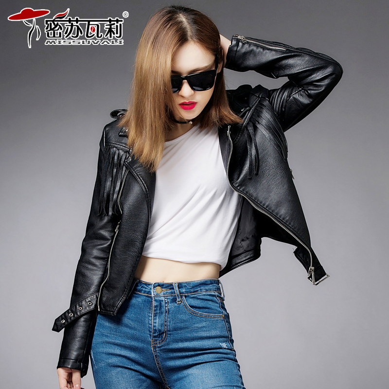 2016 autumn and winter women new women's short jacket leather jacket leather women short paragraph pu leather jacket machine car