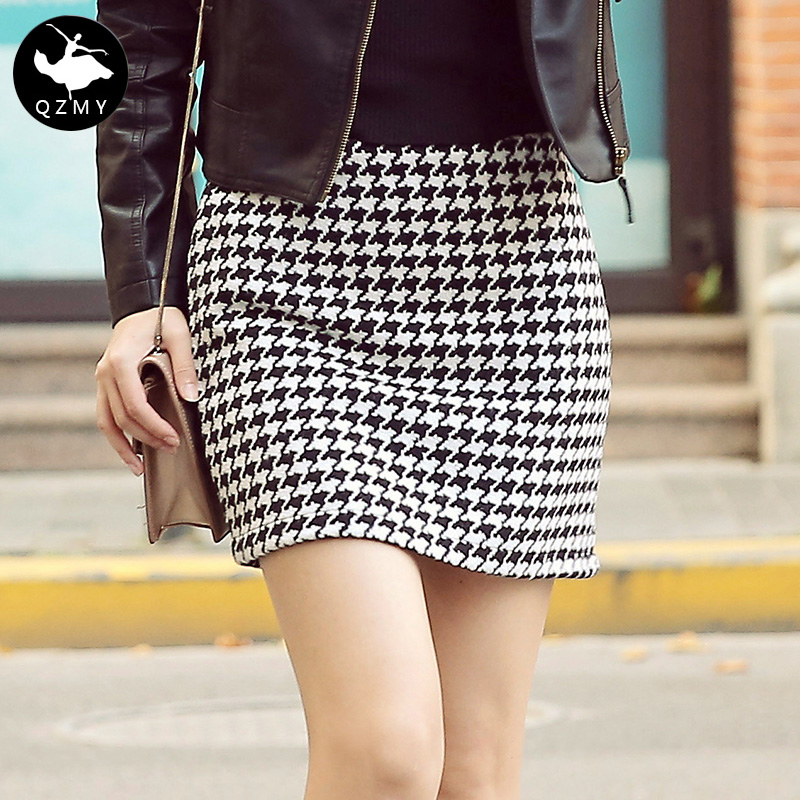 2016 autumn and winter women woolen skirt package hip plaid skirt was thin wild waist skirt package commuter step skirt skirt half skirt
