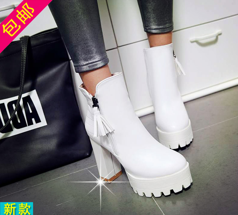 2016 autumn european and american women's boots women's spring and autumn single boots thick waterproof boots ultra thick with soft white winter boots
