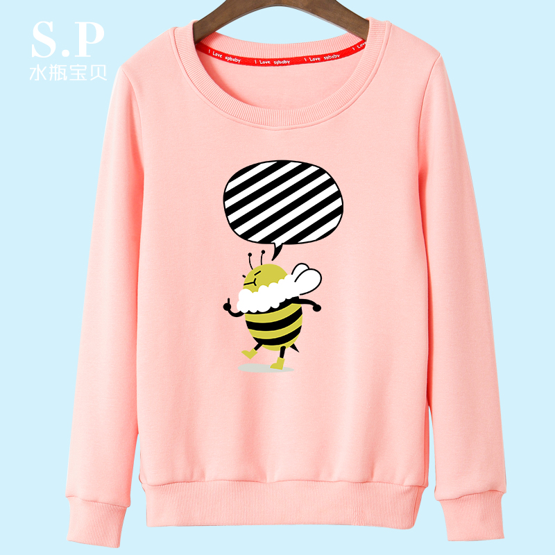 2016 autumn korean version of loose hedging round neck sweater coat ms. spring and autumn cartoon long sleeve t-shirt female tide thin section