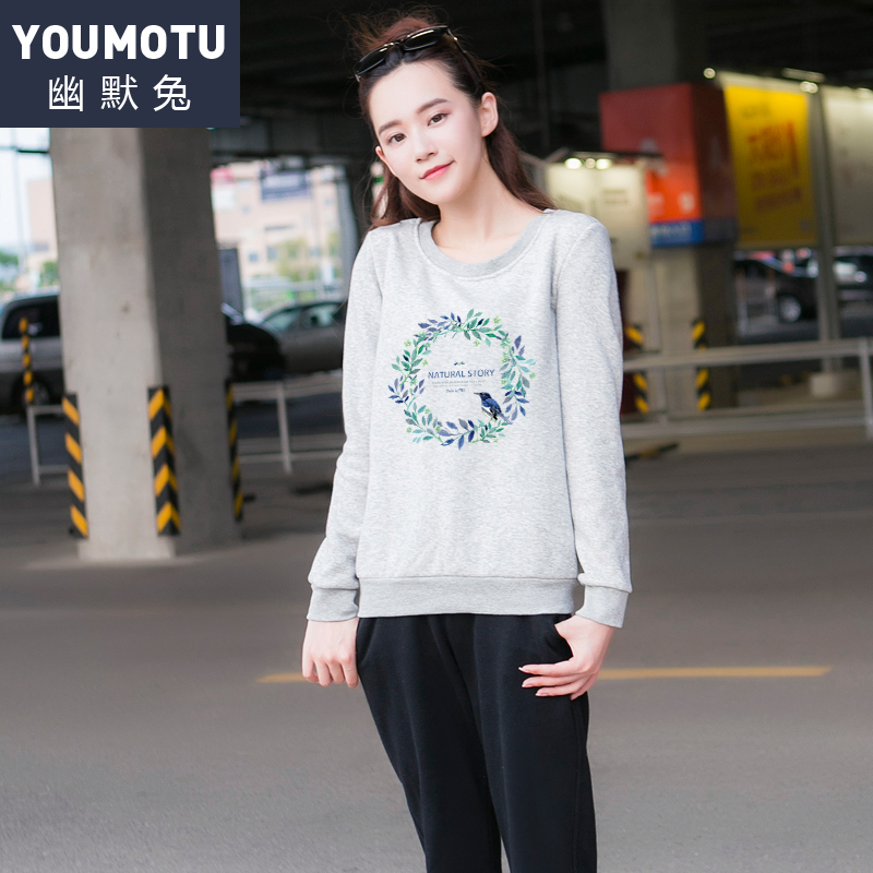 2016 autumn leisure sports suit female autumn and winter long sleeve sweater female hedging loose big yards sportswear piece