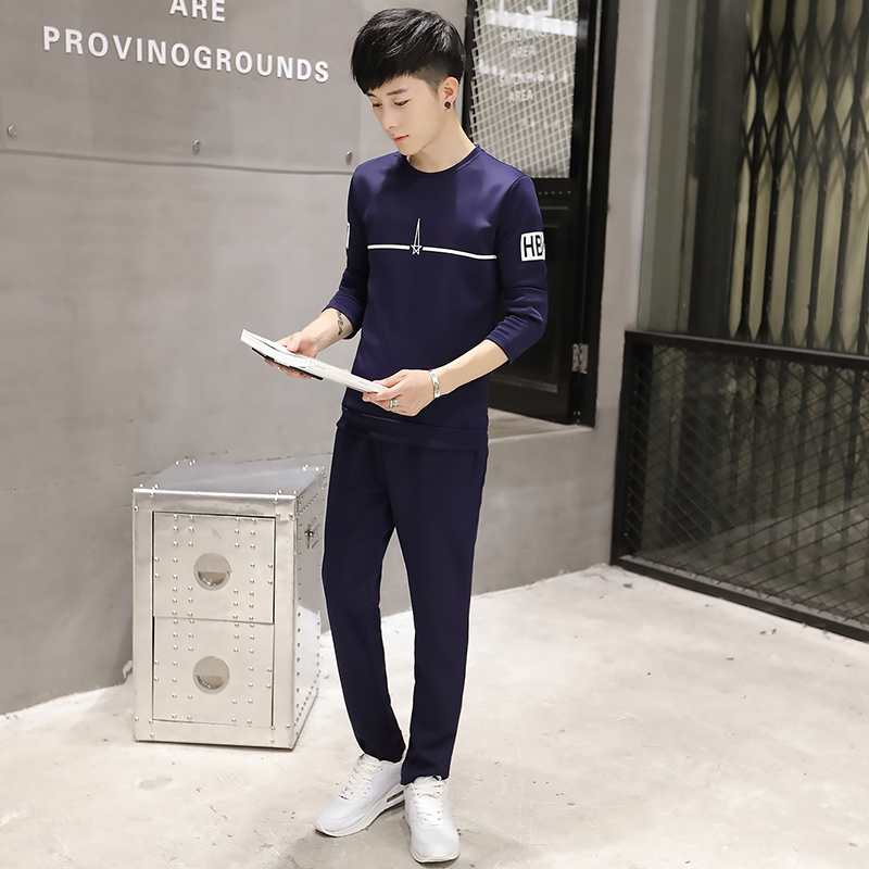 2016 autumn men's sweater coat slim youth fashion casual round neck track suit sportswear suit men's long sleeve tide