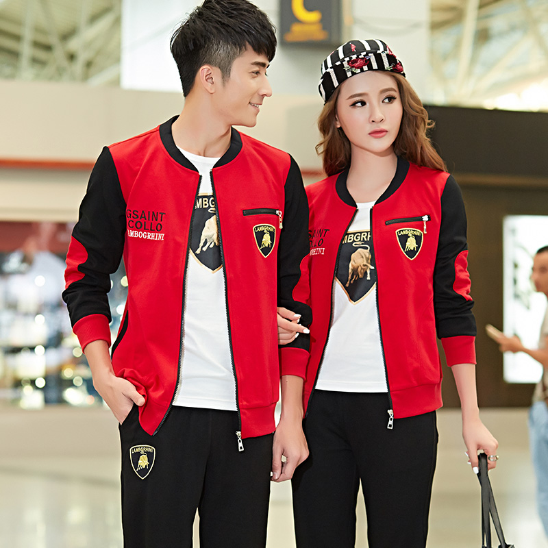 2016 autumn new couple track suit three sets of male ms. baseball uniform spring and autumn sweater leisure suit tide
