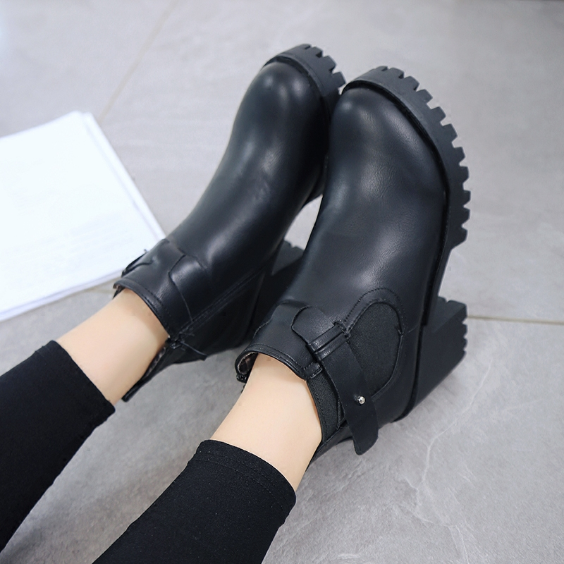 2016 autumn new european and american fashion women boots thick crust thick with wild pointed high heels boots women's singles short boots