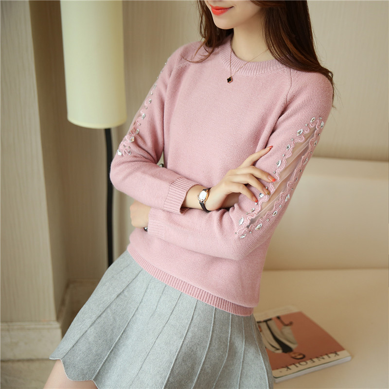 2016 autumn new korean women lace long sleeve knit shirt han lei ting black round neck sweater pullover women