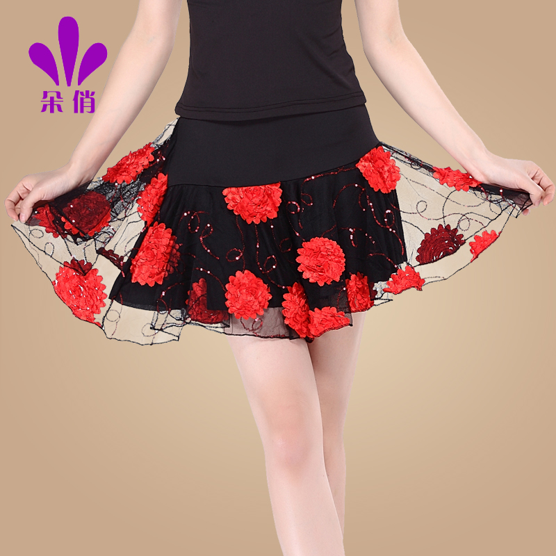 9033aba71 Get Quotations · 2016 autumn new latin dance duo pretty double gauze skirt  short skirt skirts square dance clothes